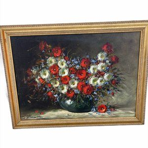 Original Art Work Oil On Canvas Painting Flower